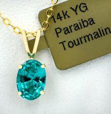 PARAIBA TOURMALINE 0.96 Cts PENDANT 14k YELLOW GOLD * New With Tag *