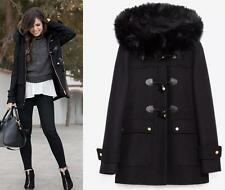 ZARA DUFFLE COAT WITH FUR HOOD WOOL JACKET NEW BLACK BLOGGERS SIZE EXTRA SMALL