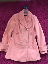 Warehouse Peach Double Breasted Winter Coat Size 10 New. Wool Mix