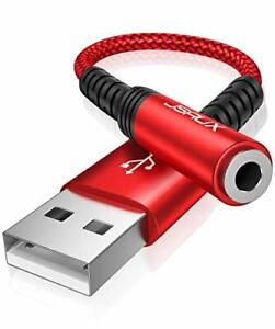 USB to 3.5mm Jack Audio Adapter, USB to Audio Jack Adapter Headset, USB-A red