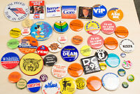 Large Vintage Pinback Button Lot 50 Pins Political, Advertising, Funny, Union