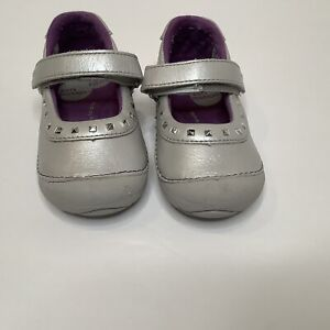 Stride Rite Soft Motion Toddler Girl Mary Janes Silver Arabelle Size 6M