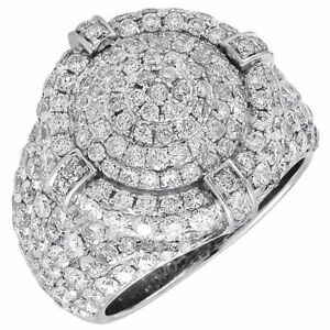 Diamond Pinky Ring Round Cut 10K White Gold FN Circle Top Mens Pave Band 4.75 Ct