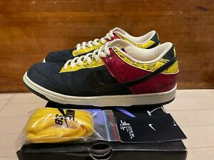 2007 Nike Dunk Low Pro SB Coral Snake Red Yellow Black Suede size 10.5