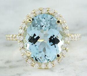 7.00 Carat Natural Aquamarine 14K Yellow Gold Diamond Ring