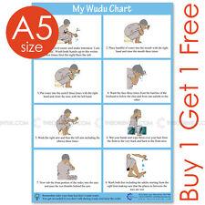 A5 Wudu Wudhu HQ Laminated Poster Chart Namaz Salaat Prayer Instruction English