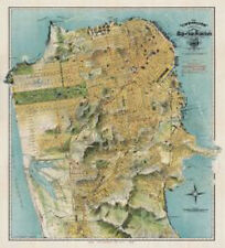 Map of San Francisco, California, 1912 August Chevalier Print Poster 24x22