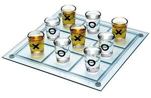 New Tic Tac Toe, Adult Drinking Game. Mirror playing area & 9 shot glasses