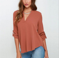 Summer Women's Loose V Neck Chiffon Long Sleeve Blouse Casual Chiffon Shirt Tops