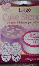 """Large cake stencils x4  butterflies happy birthday decoration 8"""" 10"""" cakes icing"""