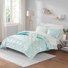 Queen Lorna Comforter&Sheet Set Micro Fiber, Metal Blue Green Intelligent Design