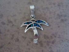 Inch Blue Opal Inlay Pendant Signed Taxco Mexico Sterling Silver Palm Tree 1.5