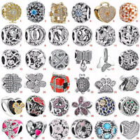 S925 European sterling CZ silver charms pendant bead For bracelet chain bangle