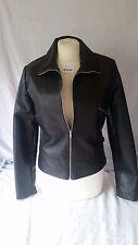 Ladies Black Biker Jacket Size 12 by Suzie