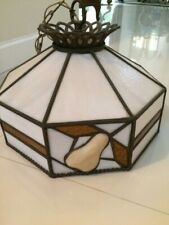 Tiffany Style Pear Lamp Stained Leaded Glass Ceiling Fixture Light Vintage