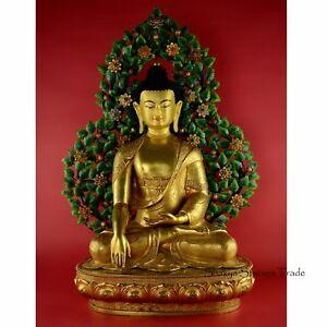 "25.25"" Shakyamuni Buddha Gold Gilded Face Painted Copper Statue From Patan Nepal"