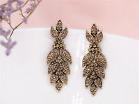 Earrings Nails Golden Sheet Chandelier Crystal Yellow Big Marriage XX15