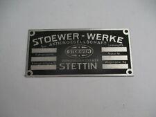 Nameplate Stoewer Werke Vintage Car