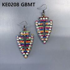 Arrowhead Shape Drop Dangle Earrings Gold Finished Clear Rhinestones Multi Color