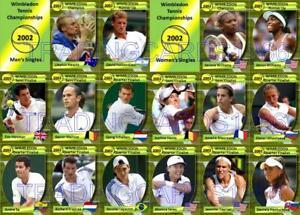 Wimbledon 2002 Tennis Trading Cards Hewett Nalbandian Serena Venus Williams