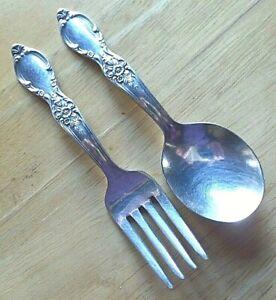 Wm ROGERS silverplate BABY SET fork & spoon 1954 VICTORIAN ROSE NO Monograms