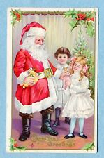 """A6270 Postcard """"Christmas Greetings"""" Santa Giving Presents to Children in White"""