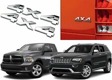(2) Chrome Jeep Dodge Mopar 4x4 Emblems Cherokee Ram Truck SUV New Free Shipping