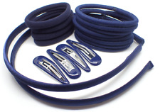 20x GIRLS SCHOOL HAIR ACCESSORIES Navy Blue, Headbands hair clips slides hair UK