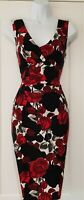 Womens Phase Eight Black Red Roses Gathered Stretch Flattering Bodycon Dress 8.