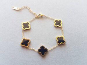 Black White Mother Of Pearl Rose Gold Plated Four Leaf Clover Bracelet
