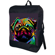 Colourful Pug Backpack School Bag Travel Daypack Personalised Backpack