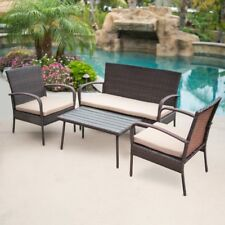 4Pc Outdoor Patio Wicker Rattan All-Weather Table Wood Top Uv Resistant, Brown