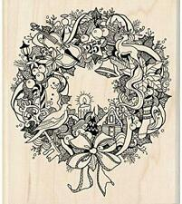 Inkadinkado Christmas Wreath Doodle Red Rubber Stamp Holidays Gingerbread Violin