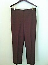 New Alfred Dunner 14 pant brown thin flat pocket elastic waist pull up size $42