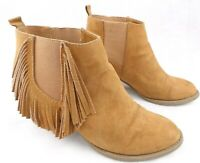 AMERICAN EAGLE Ankle Boots Brown Fringe Suede Slip On Boho Womens Size 8