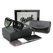 Persol 714 Folding Sunglasses 95/31 Black / Grey Green Crystal Lens PO0714 52 mm