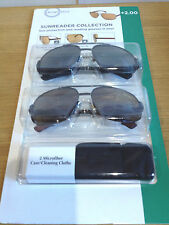 SUNREADER  COLLECTION READING SUNGLASSES TWIN PACK +2 100% UVA / UVB PROTECTION