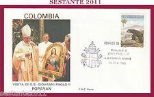 W174 VATICANO FDC ROMA VISITA PAPA GIOVANNI PAOLO II COLOMBIA POPAYAN  1986