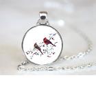Cardinals Pendant Necklace Chain Glass Tibet Silver Jewellery