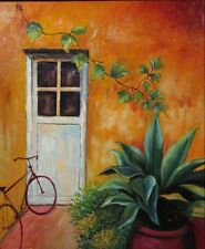 Oil Painting on Canvas with Frame, Mediterranean Patio with Bicycle