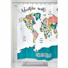 InterDesign Plastic World Map Waterproof, Bpa-Free Vinyl Shower Curtain