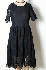 H&M Kleid Gr. 34 schwarz Empire Party Kurzarm Kleid aus Häkelspitze