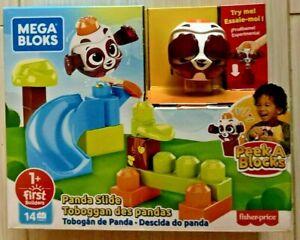 Mega Bloks Peek A Blocks Panda Slide, Colorful Building Set NEW 1+