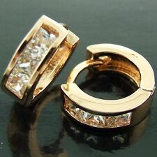 EARRINGS HOOPS HUGGIE REAL 18K ROSE G/F GOLD DIAMOND SIMULATED DESIGN FS3AN578