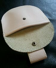 Real Leather Baby pink ladies pellet pouch with belt loop and brass stud.