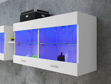 New LED Wall Mounted Cabinet Display Unit Glass Shelves Cupboard Storage Kitchen