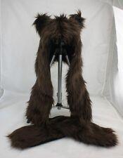 Faux Fur Full Brown Bear Animal Hood Hat Long Cap w Paw Print 3 in 1 Function US