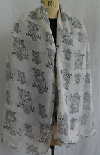ladies large scarf black owl print shawl wrap sarong beach quality rrp £12.95!