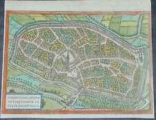 Duisburg Niederrhein Original Kupferstich koloriert Braun Hogenberg 1580