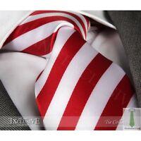 RED & WHITE STRIPE SILK TIE (& HANKY) - ITALIAN DESIGNER Milano Exclusive